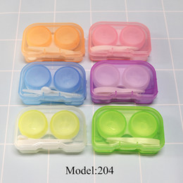 Wholesale Contact Lens Boxes Wholesale - Eyeglasses Case Cute Mini Contact Lens Easy Carry Case Travel Kit Plastic Contact Lens Storage Soaking Cases L + R Marked Free Shipping