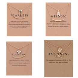 doppelschicht halsketten Rabatt Heißer verkauf Dogeared Halsketten Mit karte Gold Schädel Eule Elefant Infinity Anhänger doppelschicht Halskette Für frauen Modeschmuck Großhandel