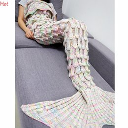 Wholesale Computer Sofa - Wholesale-Colorful Sweater Handmade Knitted Crochet Mermaid Tail Cover Blanket Adult Sleeping Sofa Blanket Scales Dress Sweater SVB030782