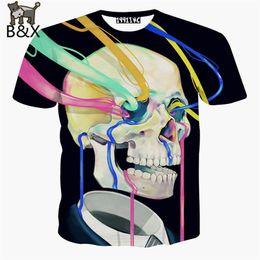 Wholesale Men S Skull Tie - Wholesale- Newest men harajuku t shirt printing skull t-shirt clothing 3d graphics t shirt Tie-dye painting tee shirt