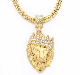 Wholesale Crystal Lion Head Necklace - Water Drill Mens' Hip Hop Jewelry Iced Out Gold Fashion Bling Bling Lion Head Pendant Men Necklace Gold Filled for Gift Pendant Necklaces