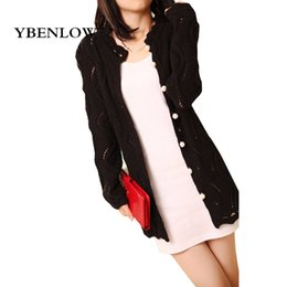 Wholesale Wholesale Long Sleeve Shrugs - Wholesale-2016 autumn sweater sweet shrug hollow pearl clasp outside the ride and long sections Knit cardigan female models