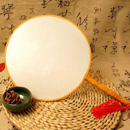 DIY Blank White Silk Hand Fans with Handle Student Children Hand Painting Fine Art Programs Chinese Palace Round Fan ZA1872