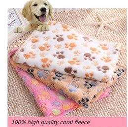 Wholesale Large Pyramid Dog Beds - Cheap Discount 104*76CM Double-sided Fleece Lovely Pet Small Large Warm Paw Print Dog Puppy Cat Fleece Soft Blanket Beds Mat Free Shipping