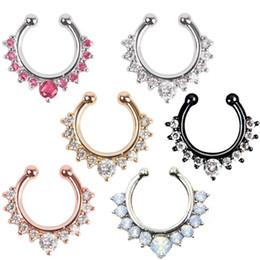 Wholesale Faux Body Jewelry - (7 Colors) Nose Piercing Ring - Hot Sale Crystal Fake Septum Nose Ring Piercing Clip On Body Jewelry Faux Hoop Rings For Women