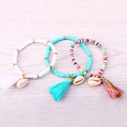 Wholesale Elastic Shell Bracelets - Wholesale-JM 5 Colors Polymer Clay CCB Elastic Charm Bracelet for Women Men Jewelry New Arrival Tassel Shell Bracelets & Bangles