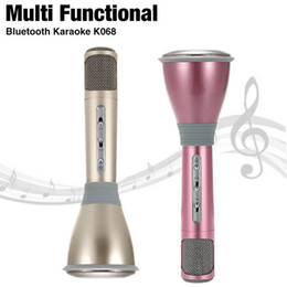 Wholesale Phones Computer Sales - Hot Sales K068 Wireless Microphone microfone with Mic Bluetooth Speaker Condenser Mini Karaoke Player KTV Singing Record for Smart Phones