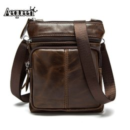 Wholesale Bussiness Casual - Wholesale- Aequeen New genuine leather messenger bag man bussiness fashion Male Crossbody Shoulder Bag For Men 2016