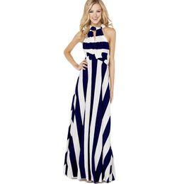 Wholesale Chiffon Multi Way Dress - 2017 new sexy women elegant multi ways design long maxi dresses contrast color striped evening party club full dress one size