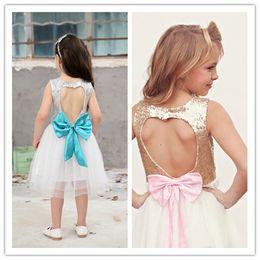 Wholesale Gauze Skirt Bowknot - Girls Sequins Dresses Heart-shaped Sleeveless Gauze Net Yarn Skirt Dress With Bowknot Princess Tutu Dress Skirt 2Colors 6Sizes