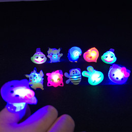 Wholesale High Quality Favors - Multi-Colors Blinking LED Light Up Jelly Finger Rings Party Favors Glow Rings Children'Day High Quality HY027