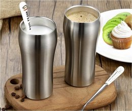 Wholesale High Quality Coffee Mugs - High Quality Double Wall 420ml Stainless Steel Beer Mug Coffee Cup Keep Drink Hot and Cold Mug Cooler Cup Novetly Gifts