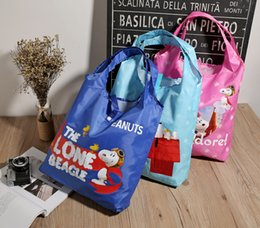 Wholesale Dog Shopping Bag - 3Colors Kawaii Snoopy Cartoon Dogs Printed Shopping Bag 32*8*34cm Female Casual Foldable Storage Bags Christmas Gifts