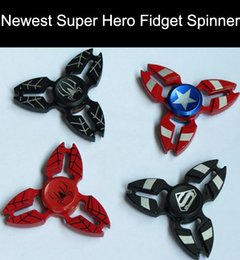 Wholesale Hero Bikes - Super Hero Fidget Spinner Zinc Alloy Hand Spinners America Captain Ironman Toy CNC EDC Finger Tip Anxiety Rollover Novelty HandSpinners Toys