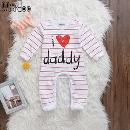 """Wholesale I Love Daddy Boy - Baby boy girl clothes kids heart letter jumpsuit """"I love daddy"""" infant bodysuit toddler coverall newborn long sleeve clothing set hot sale"""