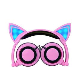 Wholesale Cute Girl Headphones - ITSYH Fashion Earphones & Headphones girl students LED light headband earpones with microphone foldable Cute Cat Ear headset TW-763