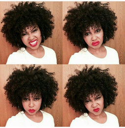 Wholesale Wigs For Black Ladies - Full Lace Human Hair Wigs For Black Women Peruvian Afro Kinky Curly U Part Wigs 100% Human Hair G-EASY