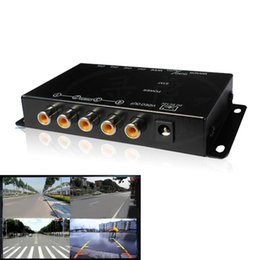 Wholesale Video Camera Ir - IR control 4 Cameras Video Control Car Cameras Image Switch Combiner Box for Left view Right view Front Rear Parking Camera box