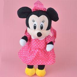 Wholesale Kids Backpack Free Shipping - Brand New Girl Gift Minnie Mouse Stuffed Plush Toy Backpack, Kids Child Gift Plush Bag Gift Free Shipping