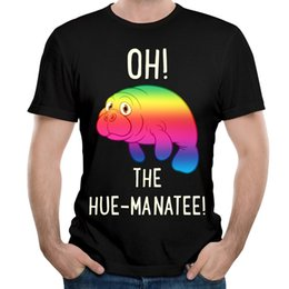 Wholesale Hues Color - Men Black T-shirt Gradient Animal Print Unique Tees O Neck Classic Top For Man Snug Short Sleeve Oh The Hue-Manatee