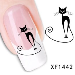 Wholesale Tip 31 - Wholesale- 3D Design cute DIY Black cat Tip Nail Art nail sticker nails Decal nail tools XF1442 New 31
