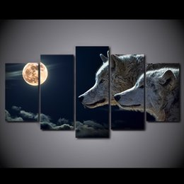 Wholesale seascape abstract oil paintings - HD Printed 5 Piece Canvas Art White Wolf Moon Night Painting Modular Wall Pictures for Living Room Modern Free Shipping NY-2256B