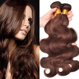 Wholesale Chocolate Brown Brazilian Hair - Malaysian Virgin Human Hair Body Wave Chocolate Brown Human Hair Weft Medium Brown #4 Wavy Hair Extension 3Pcs For Woman