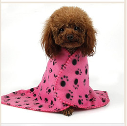 Wholesale Kennel Blanket - Cute Pet Dog Cat Blanket Paw Prints Soft Warm Fleece Bed Cover pet kennels mat pet sleeping bed pad