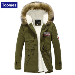 Wholesale Men Faux Fur Parka - Wholesale- Faux Fur Hooded Jacket Brand Men Clothes Zipper Outwear Midi Patch Cotton Overcoats Big Size Tooling Coat Casual Warm Parkas