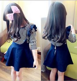 Wholesale Girl Stripe Braces Skirt - Free shipping - 2017 new children's clothing han edition girls long-sleeved black fungus type side stripe T-shirt + cowboy braces skirt suit