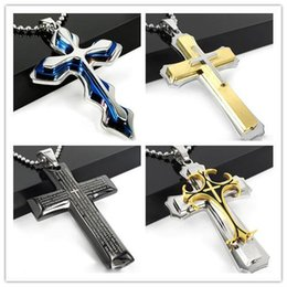 Wholesale Layered Black Necklace - 6 Style Stainless Steel Men's Large Layered Cross Pendant Necklace for Men Jewelry with 24 Inch Chain Y#59