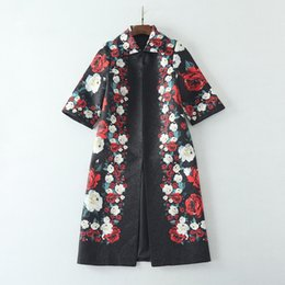 Wholesale Trench Roses - European and American women's wear 2017 The new winter 7 minutes of sleeve lapel Rose printed Jacquard fashionable trench coat