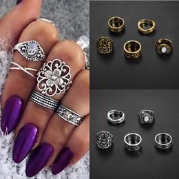 Wholesale Turquoise Rhinestone Ring - Vintage 5pcs Boho Vintage Turquoise Elephant Animal Ring Set Midi Finger Knuckle Rings