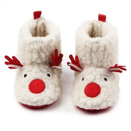 Wholesale Cute Boots For Girls - Wholesale- Winter Comfortable Flock Cute Deer Pattern Soft Sole Warm Baby Girls Snow Boots Shoes For 0-15 Months