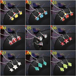 Wholesale Girls Enamel Earrings - Fashion Cute Style Christmas Xmas Holidays Colored Enamels Jewelry Sets for women girl multiple styles mixed order SET146
