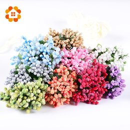 decorazione floreale all'ingrosso Sconti Wholesale- 12PCS Multicolor Pip Berry Stamen Flower For Wedding Fai da te Handmade Decor Artificiale floreale Pistillo Stame Wedding Supplies Fiore