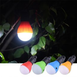 Wholesale Emergency Led Bulb Lights - Wholesale- 4 Colors Portable Outdoor Hanging 3-LED Camping Lantern Soft Night Light LED Camp Lights Bulb Lamp For Camping Tent Fishing