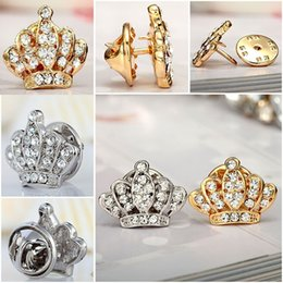 Wholesale Gilt Buttons - Wholesale- Europe And America Fashion Mini Exquisite Small Thorn Crown Brooch Gilded Glamor Rhinestone Horse Collar Pin Button Pin Brooches