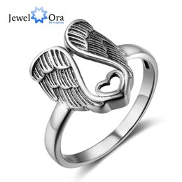 Wholesale Genuine Solid Sterling Silver Ring - Size 6 7 8 Vintage Angel Wings Genuine 925 Solid Silver Rings For Women Love Fashion Party Ring Feather Jewelry Gift (JewelOra RI102754)