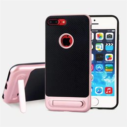 Wholesale Dual Layer Case S4 - Stand Holder Case Brushed Silicone Plastic Frame Dual Layer Hybrid Back Cover For Samsung S4 S5 S6 S6 Edge Plus S7 S7 Edge