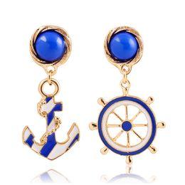 Wholesale Navy Blue Gold Earrings - Navy Style Fashion Anchor Earrings Epoxy Enamel Rudder Stud Earrings for Women 18K Gold Plated Jewelry Gifts Wholesale Hot