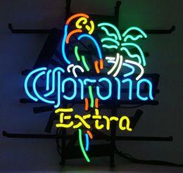 "Bicchieri da birra corona online-17 ""x 14"" NUOVA PALMA PARROT PALM TREE EXTRA REAL VETRO BIRRA BAR PUB STORE NEON LIGHT SIGN"