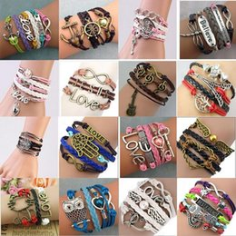 Wholesale Love Infinity Cross Charms - 20 Styles Infinity Charm Bracelets Multilayer Woven Leather Bracelets Antique Cross Anchor Knitting Bronze Diy Charm Bangles