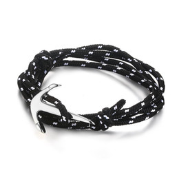 Wholesale Multilayer Bracelet Anchor - Meaeguet Nautical Men's Bangles Silver Gold Plated Anchor Fish Hook Black Nylon Ropes Multilayer Bracelets For Women's Jewelry BL-202