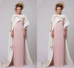 Wholesale Satin Cloak Red Lining - White Long Cloak With Gold Embroidery Evening Gowns 2017 Pink Satin Sheath Prom Dresses Floor Length Saudi Arabic Women Party Dresses