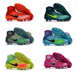 Wholesale Kids Lacing Tops - 2017 Magista Obra II 2 FG Kids Soccer Shoes Cleats With ACC High Top Youth Women Boy's Football Sneakers Waterproof Eur 35-45