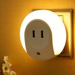 Wholesale Mini Light Sockets - Wholesale- Mini USB Socket LED Night Light for Children 7 LED USB Wall Socket Dual USB Charger Light Sensor Plug Bedroom Night Lamp EU Plug