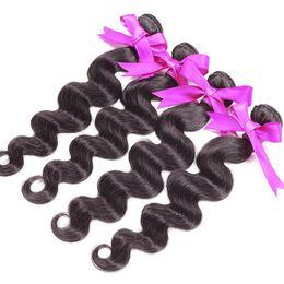 Wholesale Wholesale Hair Extension Online - Cheap Peruvian Body Wave Hair UK Online Peruvian Hair 5A Natural Color 1B 4Pcs lot Hair Extensions