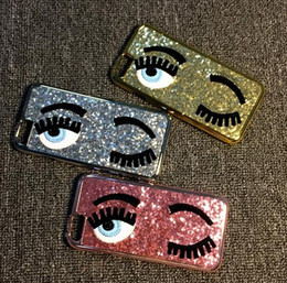 Wholesale Bling Iphone Big - 3D Glitter Bling Chiara Ferragni Miss Gossip Blinking Wink Big Eyes Hard Case Cover For iPhone 5 5S 6 6S 6PLUS 7 7plus