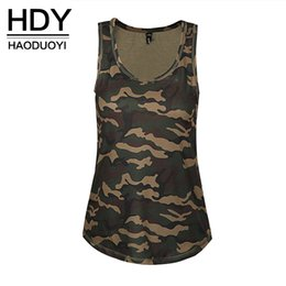 Wholesale Tee Shirt Tanks For Women - x201711 HDY Haoduoyi Women O-neck Striped Tee Camo Army Green Casual Tank Tops Sleeveless Girl T-shirt for wholesale Camouflage Tank